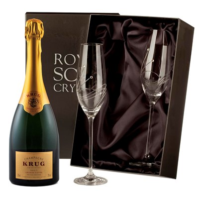Buy 2 x beautiful Swarovski Crystal Encrusted Champagne flutes and a Bottle of Krug Brut NV, 75cl Champagne.  . Price includes free UK Mainland Delivery, and Exports and international delivery available.