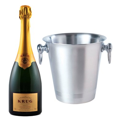 Krug Grande Cuvee With Ice Bucket With A traditional style aluminium ice bucket with two carry handles. As with any aluminium product, rust is not an issue so they will last a long time.  . Price includes free UK Mainland Delivery, and Exports and international delivery available.