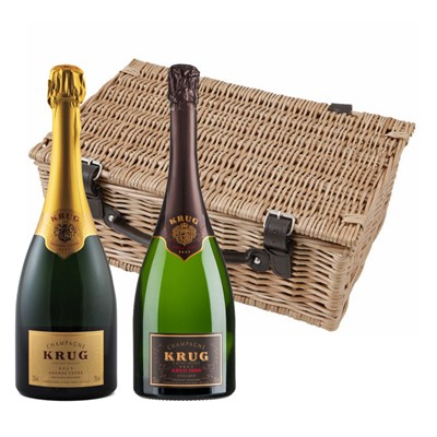 Buy a lovely wicker hamper with leather straps padded out with shred fill, with a bottle of Krug Grande Cuvee 75cl and a bottle of Krug Grande Vintage 2003 75cl in. It comes with a gift card with your personal gift message in.  . Price includes free UK Mainland Delivery, and Exports and international delivery available.