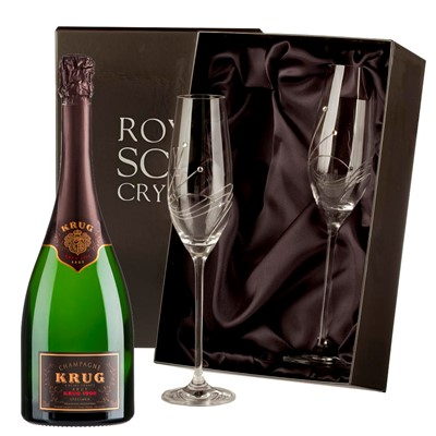 Buy 2 x beautiful Swarovski Crystal Encrusted Champagne flutes and a Bottle of Krug Brut Vintage 2003 NV, 75cl Champagne.  . Price includes free UK Mainland Delivery, and Exports and international delivery available.