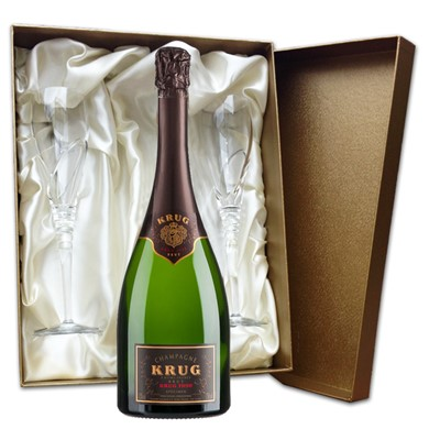 Buy 75cl bottle of Krug Grande Vintage 2004 75cl , NV, Champagne and two beautiful hand cut lead crystal champagne flutes (260mm)all supplied in a Luxury Presentation box.  . Price includes free UK Mainland Delivery, and Exports and international delivery available.