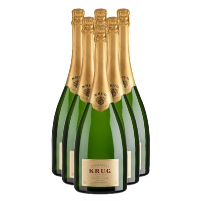 Buy Case of Six Krug Grande Cuvee 75cl Bottles Bulk Packed in a single case. . Price includes free UK Mainland Delivery, and Exports and international delivery available.