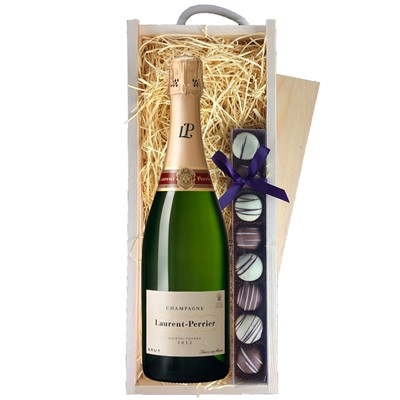Buy a single bottle of Laurent Perrier La Cuvee NV 75cl Champagne & a single strip of fine Hand Made Truffles 110g Presented in a wooden gift box with sliding lid and lined with wood wool with a Gift Card for your personal message. . Price includes free UK Mainland Delivery, and Exports and international delivery available.