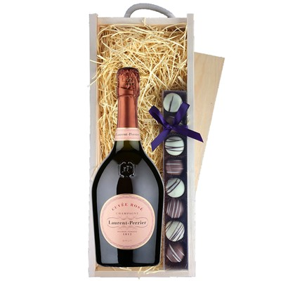 A single bottle of Laurent Perrier Rose Champagne & a single strip of fine Hand Made Truffles 100g Presented in a wooden gift box with sliding lid and lined with wood wool with a Gift Card for your personal message. Price includes free UK Mainland Delivery, and Exports and international delivery available.