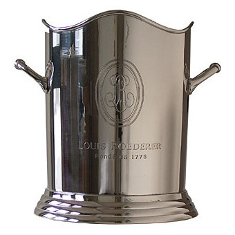 Buy a Branded Louis Roederer Silver Plated Ice Bcket takes both normal 75cl and Magnum 1.5L bottles in a presentation box. . Price includes free UK Mainland Delivery, and Exports and international delivery available.