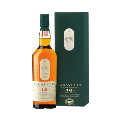 Buy Lagavulin whisky 70cl 16 year old Single Malt from the island of Islay.  Since 1816, Lagavulin Single Malt Scotch Whisky has been made in a picturesque huddle of buildings on Lagavulin Bay. Perhaps the most beautifully situated of distilleries, Lagavulin makes arguably the most intensely flavoured, smoky and rich whisky of all. For many, this is the definitive Islay malt. Fabulously appetizing. Price includes free UK Mainland Delivery, and Exports and international delivery available.