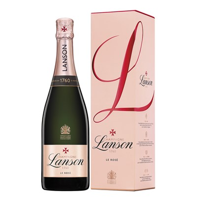 Lanson Rose  Send a single bottle of Lanson Rose, NV, Champagne 75cl Presented in a stylish Blue Gift Box with Gift Card for your personal message  Beautiful pure colour  fresh and delicious with aromas of roses and fruit. . Price includes free UK Mainland Delivery, and Exports and international delivery available.