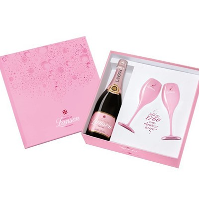 Lanson Rose with two Pink branded Lanson Champagne Flutes all in a fully branded Lanson Coffret Gift set