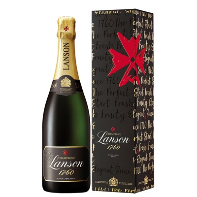 Buy Send a single bottle of Lanson Black Label Brut NV Champagne 75cl Presented in a stylish Gift Box with Gift Card for your personal message . Price includes free UK Mainland Delivery, and Exports and international delivery available.