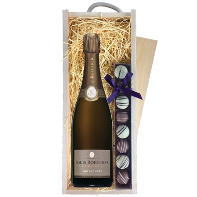 Buy a single bottle of Louis Roederer Brut Vintage 2009 75cl Champagne & a single strip of fine Hand Made Truffles 110g Presented in a wooden gift box with sliding lid and lined with wood wool with a Gift Card for your personal message. . Price includes free UK Mainland Delivery, and Exports and international delivery available.
