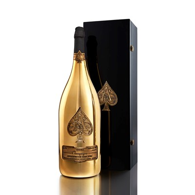 Buy armand de Brignacs unmistakable gold plated bottle has its roots in the French fashion industry and its reputation for opulence. Originally conceived by the celebrated Andre Courreges fashion house the striking bottle is decorated at a single site in Frances Cognac region and is fitted with four pewter labels that are hand applied to the surface of the bottle.Armand de Brignac is a Prestige Cuvee produced in the traditional old world style from grape to glass. The Brut Gold also known as 'ACE OF SPADES' is pressed from a perfectly balanced blend containing Chardonnay Pinot Noir and Pinot Meunier wine. On the palate Armand de Brignac has a sumptous racy fruit character that is perfectly integrated with the wines subtle brioche accents. The Champagnes texture is deliciously creamy with great depth paired with a long silky finish.  Very Limited stock Allow 2 to 3 days for delivery. . Price includes free UK Mainland Delivery, and Exports and international delivery available.