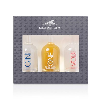 The Lakes Distillery Triple Set Miniature Gift Pack consists of 1 of each 5cl bottle of Gin, Whisky and Vodka