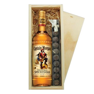 Captain Morgan's Spiced Rum & Truffles Wooden Box   A single bottle of Captain Morgan's Spiced Rum & a single strip of fine Hand Made Truffles 100g Presented in a wooden gift box with sliding lid and lined with wood wool with a Gift Card for your personal message.  . Price includes free UK Mainland Delivery, and Exports and international delivery available.