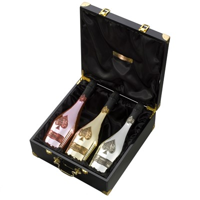 Armand de Brignac Trilogie This is a three pack item which includes Armand de Brignac Rose, Armand de Brignac Gold and Armand de Brignac Blanc de Blancs Armand de Brignac Ros is a beautiful salmon hued wine produced in the traditional, old world style, from grape to glass. Our rare Blanc de Blancs is unquestionably one of the worlds finest Champagnes. Exquisite, 100 handmade and composed entirely of Cote de Blancs and Montagne de Reims Chardonnay, Armand de Brignac Blanc de Blancs pours a beautiful pale gold colour, with a light, pure floral nose with notes of citrus fruits. Armand de Brignac is marvelously complex and full bodied, with a bouquet that is both fresh and lively. Price includes free UK Mainland Delivery, and Exports and international delivery available.