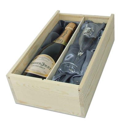 Champagne and Flute Set Perrier Jouet presented in a wooden gift box