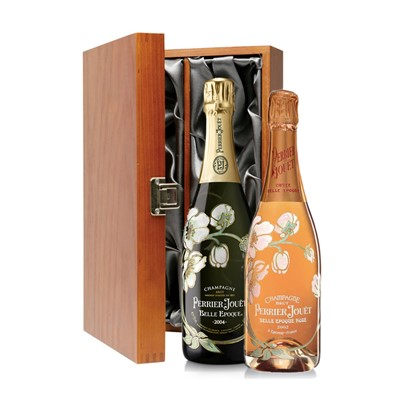 Buy Two bottles of Perrier Jouet Belle Epoque Brut and Rose,, Vintage, Champagne, 2 x 75cl Presented in a luxurious stained wooden box with hinged lid and clasp. The box is lined with silver satin and comes with a Gift Card for your personal message.