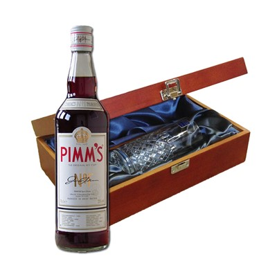 Pimms No1 In Luxury Box With Royal Scot Glass   Send a bottle of Pimms No1 in a lovely box beautifully stained featuring traditional joins with hinged lid and clasp fastening. Along with a beautiful hand cut lead crystal Royal Scot High Ball glass. All gifts come with a gift card with message of your choice.  . Price includes free UK Mainland Delivery, and Exports and international delivery available.