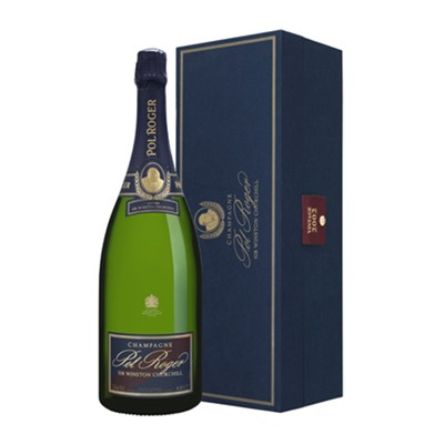 A Magnum of Magnum of Pol Roger Magnum Sir Winston Churchill 1.5 litres . Pol Roger's Magnum of Cuvee Sir Winston Churchill 1999 Champagne was made in his honour. Sir Winston Churchill was Pol Roger's most illustrious devotee and customer. The blend is a closely guarded family secret but from tasting it is likely that the champagne features about 70 80 Pinot Noir with the remainder made up from Chardonnay. Price includes free UK Mainland Delivery, and Exports and international delivery available.