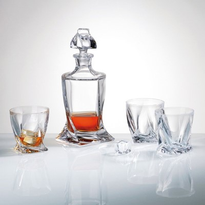Bohemia decanter is a stunning combination of brilliance and clarity. Improve the taste and aesthetics of fine wine, cordial, brandy or spirits by decanting them into Bohemia decanters. This gorgeous crystal decanter will perfectly compliment your table Decanter capacity is 850ml diameter of the glass 9cm each crystal glass capacity is 340 ml each crystal glass is 9.6 cm high Luxury product Novel and superb glassware gift idea as it comes in a gift box and is dishwasher safe however hand wash recommended to preserve shine and brilliance Part of Bohemia Crystalite collection