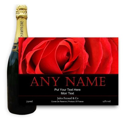 Red Rose Label-Buy a bottle of Champagne Jules Feraud Brut Cuvee NV 75cl personalised as a gift that is a perfect for celebrating with style! Create your very own Personalised Bottle of Champagne with your own message on the bottle which is printed in full colour. Jules Feraud is a rich Champagne with savoury aromas. This deep golden Champagne is powerful but elegant; strong bodied and dry yet still balanced. A fresh fun and lively champange for any occasion..and deliciously easy to drink! Please Keep the Message to Maximum of 25 words Gift Message will be used as message on the label . Price includes free UK Mainland Delivery, and Exports and international delivery available.
