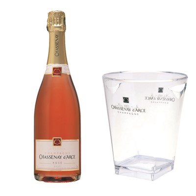Chassenay d'Arce Rose With Ice Bucket - Send a single bottle of Chassenay d'Arce Rose Brut, NV, Champagne (75cl) Presented in a stylish Gift Box with a branded Chassenay Ice Bucket Gift Card for your personal message - A Salmon - pink wine with a lovely brick red tint gives life to a cordon of light bubbles. The smell is expressive, warm and pleasing with its notes of red fruits, soft spices.