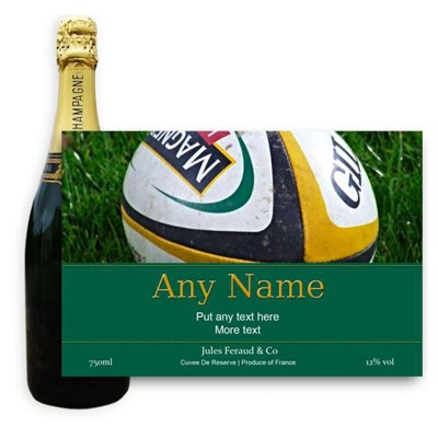 Rugby Label-Buy bottle of Champagne Jules Feraud Brut Cuvee NV 75cl personalised as a gift that is a perfect for celebrating with style! Create your very own Personalised Bottle of Champagne with your own message on the bottle which is printed in full colour. Jules Feraud is a rich Champagne with savoury aromas. This deep golden Champagne is powerful but elegant; strong bodied and dry yet still balanced. A fresh fun and lively champange for any occasion..and deliciously easy to drink! Please Keep the Message to Maximum of 25 words Gift Message will be used as message on the label . Price includes free UK Mainland Delivery, and Exports and international delivery available.