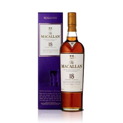 Buy a bottle of Macallan 18 year old malt whisky, matured in oak sherry casks for its deep richness of flavour. The Macallans benchmark excellence is nowhere more evident than in the 18 Year Old. Price includes free UK Mainland Delivery, and Exports and international delivery available.