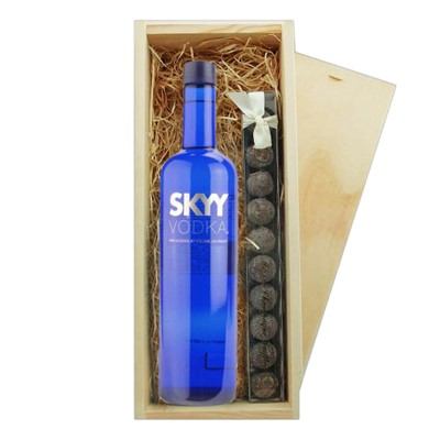 Skyy Vodka And Truffles Wooden Box A single bottle of Skyy Vodka 70cl And a single strip of fine Hand Made Truffles(100g) Presented in a wooden gift box with sliding lid and lined with wood wool with a Gift Card for your personal message.  . Price includes free UK Mainland Delivery, and Exports and international delivery available.