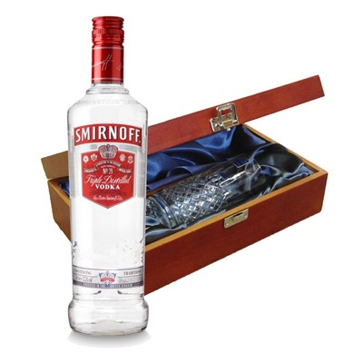 Smirnoff Red Vodka In Luxury Box With Royal Scot Glass   Send a bottle of Smirnoff Red Vodka in a lovely box beautifully stained featuring traditional joins with hinged lid and clasp fastening. Along with a beautiful hand cut lead crystal Royal Scot High Ball glass. All gifts come with a gift card with message of your choice.  . Price includes free UK Mainland Delivery, and Exports and international delivery available.