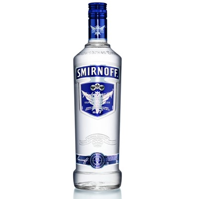 Smirnoff Blue Label Vodka   Smirnoff Export Strength Blue Label Vodka. Best known as a duty free favourite Smirnoff Blue Label Vodka is the highest strength Smirnoff on the market and adds an extra kick to any vodka cocktail.  . Price includes free UK Mainland Delivery, and Exports and international delivery available.
