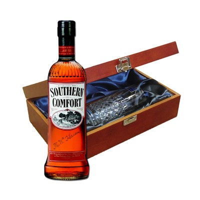 Southern Comfort In Luxury Box With Royal Scot High Ball Glass Send a bottle of Southern Comfort in a lovely box beautifully stained featuring traditional joins with hinged lid and clasp fastening. Along with a beautiful hand cut lead crystal Royal Scot High Ball glass. All gifts come with a gift card with message of your choice.  . Price includes free UK Mainland Delivery, and Exports and international delivery available.