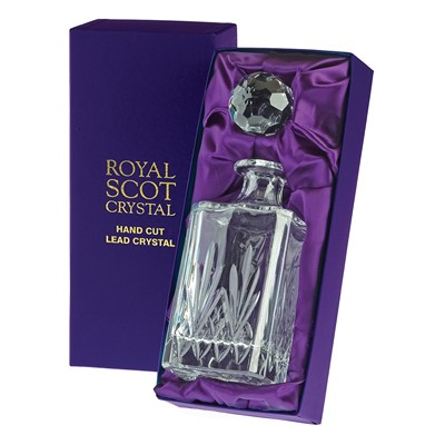 1 Royal Scot Square Spirit Decanter- Highland - PRESENTATION BOXED - A beautiful hand cut lead crystal Royal Scot Square Spirit (26oz 75cl), Highland design in a high quality purple leatherette box with purple satin linings.