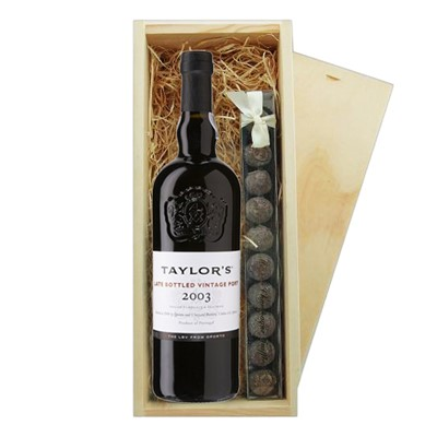 Taylors Late Bottled Vintage Port And Truffles Wooden Box   A single bottle of Taylors Late Bottled Vintage Port And a single strip of fine Hand Made Truffles 100g Presented in a wooden gift box with sliding lid and lined with wood wool with a Gift Card for your personal message.  . Price includes free UK Mainland Delivery, and Exports and international delivery available.