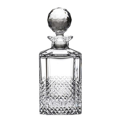 Tiara Square Spirit Decanter (Gift Boxed) BRITISH HAND CUT CRYSTAL. This stunning hand cut design adds style and sophistication to home entertaining. Beautiful and elegant British hand cut crystal packaged in light blue gift boxes. 26oz, 75cl