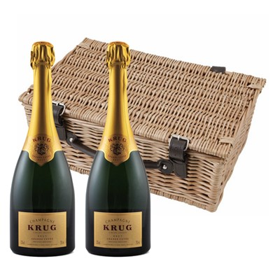 Buy a lovely wicker hamper with leather straps padded out with shred fill, with two bottles of Krug Grande Cuvee 75cl in. It comes with a gift card with your personal gift message in.  . Price includes free UK Mainland Delivery, and Exports and international delivery available.