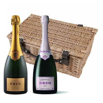 Buy a lovely wicker hamper with leather straps padded out with shred fill, with a bottle of Krug Brut 75cl and a bottle of Krug Rose 75cl in. It comes with a gift card with your personal gift message in.  . Price includes free UK Mainland Delivery, and Exports and international delivery available.