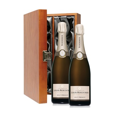 Buy Two bottles of Louis Roederer Brut Imperial NV Champagne 2 x 75cl Presented in a luxurious stained wooden box with hinged lid and clasp. The box is lined with silver satin and comes with a Gift Card for your personal message. . Price includes free UK Mainland Delivery, and Exports and international delivery available.
