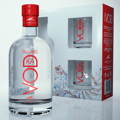 The Lakes Vodka Gift Pack complete with 2 glasses and a standard size bottle of Vodka 70cl with 2 glasses beautifully presented in quality packaging.