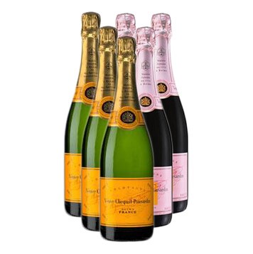 Case of Six Veuve Clicquot 3x Veuve Clicquot Yellow label Brut 3x Veuve Clicquot Rose 75cl Bottles Bulk Packed in a single case. Price includes free UK Mainland Delivery, and Exports and international delivery available.