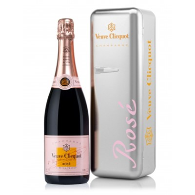 Veuve Clicquot Rose Metal fridge -A cool offer from Veuve Clicquot limited edition gift includes a single bottle of Veuve Clicquot Rose Champagne presented in a stylish pink Veuve Cliquot branded Fridge. Veuve Clicquot Fridge has been thought to keep the Brut Yellow label fresh for up to 2 hours. It is handy and aesthetically appealing. It underlines the brand's search for excellence and unique vision about innovation always combined with the finest champagnes.