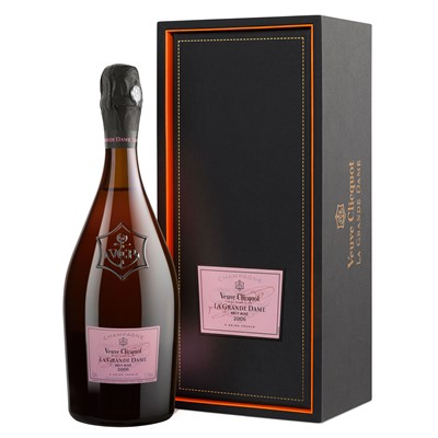 Veuve Clicquot's La Grande Dame Rose 2004 Champagne is only produced in very limited amounts from 8 crus selected from Madame's own vineyards. The blend comprises of Pinot Noir (64), Chardonnay (36)the 2004 Rose vintage of La Grande Dame has a nose that is full and intense with notes of orange peel, a hint of nuttiness and vanilla. An equally powerful palate with a unique character of red fruit, biscuit and apricot, and a firm, persistent mousse.  . Price includes free UK Mainland Delivery, and Exports and international delivery available.