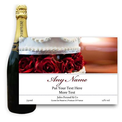 Wedding Cake Label-Buy a bottle of Champagne Jules Feraud Brut Cuvee NV 75cl personalised as a gift that is a perfect for celebrating with style! Create your very own Personalised Bottle of Champagne with your own message on the bottle which is printed in full colour. Jules Feraud is a rich Champagne with savoury aromas. This deep golden Champagne is powerful but elegant; strong bodied and dry yet still balanced. A fresh fun and lively champange for any occasion..and deliciously easy to drink! Please Keep the Message to Maximum of 25 words Gift Message will be used as message on the label . Price includes free UK Mainland Delivery, and Exports and international delivery available.