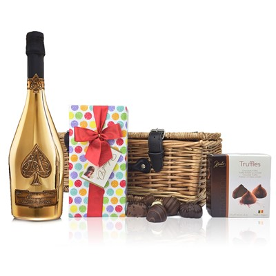 Armand de Brignac Gold Chocolates Hamper  A delightful gift of Armand de Brignac Gold along with a box of Mini Duc d'O Belgin Chocolates (50g) and Belgid'Or Fine Belgin Choclates (175g) all packed in a wicker hamper with leather straps, lined with wood wool.  . Price includes free UK Mainland Delivery, and Exports and international delivery available.