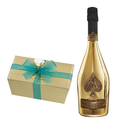 Armand de Brignac Brut Gold NV Champagne 75cl With Selection Of Milk, White And Dark Belgian Chocolates 460g