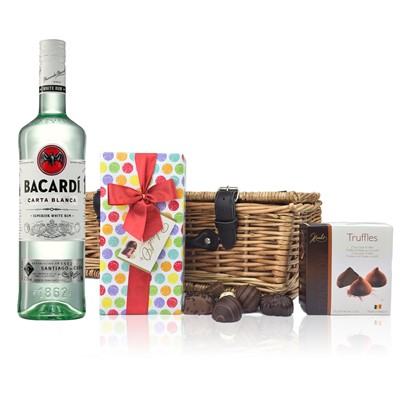 Bacardi Rum and Chocolates Hamper A delightful gift of Bacardi Rum along with a box of Mini Duc d'O Belgin Chocolates 50g and Belgid'Or Fine Belgin Choclates 175g all packed in a wicker hamper with leather straps lined with wood wool. All gifts come with a gift card with message of your choice.  . Price includes free UK Mainland Delivery, and Exports and international delivery available.