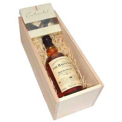 Balvenie DoubleWood 12 YO In Wooden Box With Chocolates The Balvenie DoubleWood has been matured in two casks  Traditional Whisky Oak and Original Sherry Oak which results in a rich mellow flavour of great depth and unusual complexity. An exceptional single malt. A bottle of Baileys in a wooden box wood wool lined with a box of chocolates. . Price includes free UK Mainland Delivery, and Exports and international delivery available.