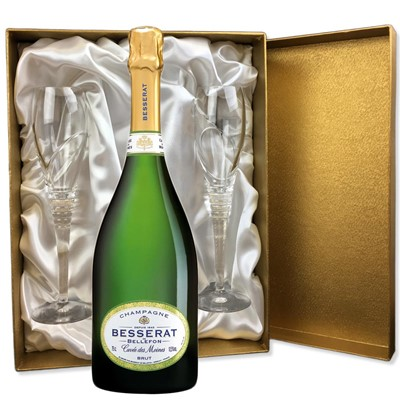 Besserat de Bellefon Cuvee des Moines Brut Champagne 75cl in Gold Presentation Set With Flutes