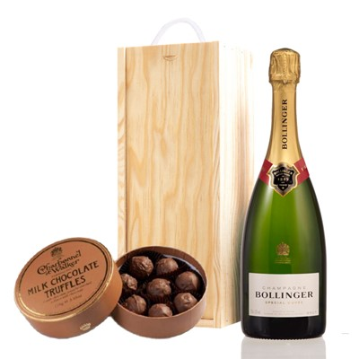 A single bottle of Bollinger Brut 75cl, Champagne & Charbonnel Milk Chocolate Truffles (110g), Presented in a wooden gift box with sliding lid and lined with wood wool with a Gift Card for your personal message. Price includes free UK Mainland Delivery, and Exports and international delivery available.