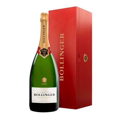 Buy a Jeroboam of Bollinger Special Cuvee NV Champagne 3 litres . . Price includes free UK Mainland Delivery, and Exports and international delivery available.