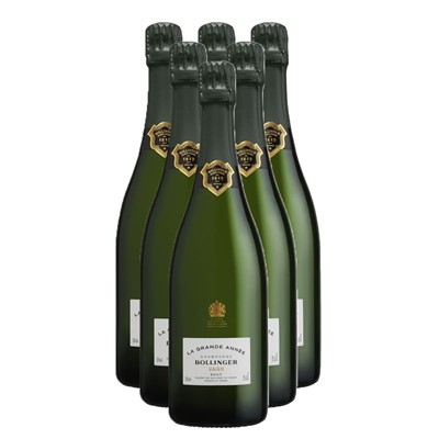 Case of Six Bollinger Grande Annee Vintage 2007 75cl Bottles Bulk Packed in a single case. Price includes free UK Mainland Delivery, and Exports and international delivery available.